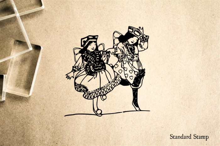 Children Dancing Rubber Stamp