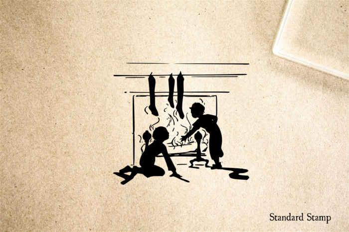 Children near Fireplace Rubber Stamp