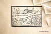 City Over Moon and Sun Rubber Stamp