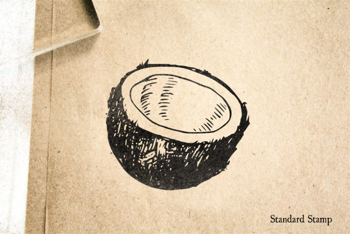 Coconut Half Rubber Stamp