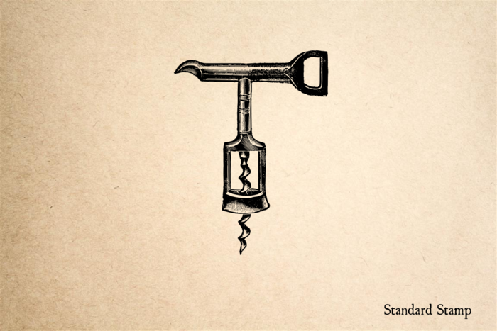 Corkscrew Metal Rubber Stamp