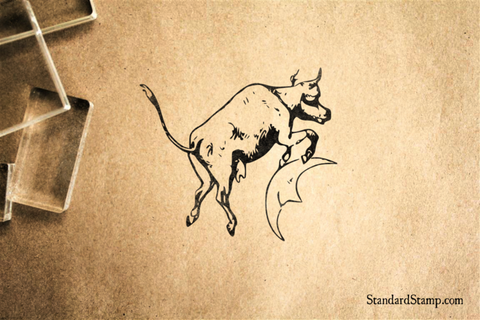 Cow Jumps Over the Moon Rubber Stamp