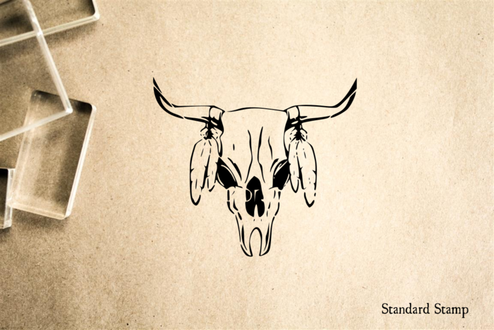 Cow Skull with Feathers Rubber Stamp