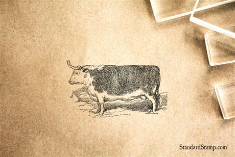 Cow Vintage Rubber Stamp