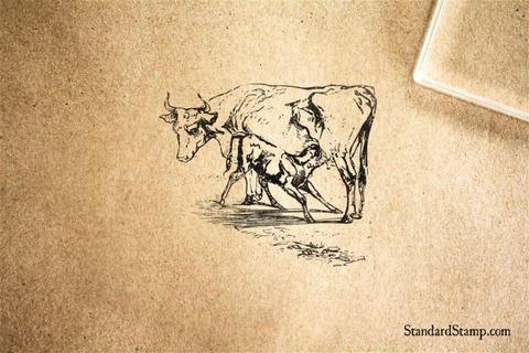 Cow and Calf Rubber Stamp