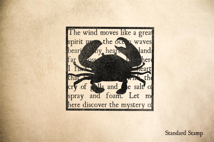 Crab on Ocean Text Rubber Stamp