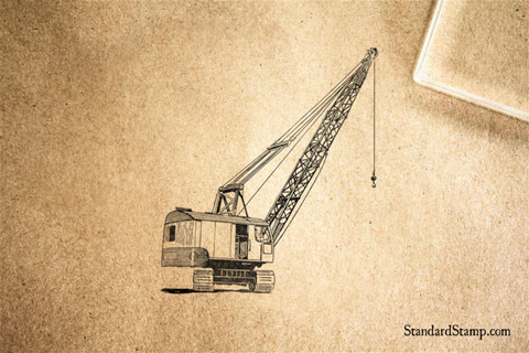 Construction Crane Rubber Stamp
