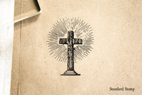 Cross with Starburst Rubber Stamp
