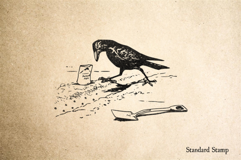 Crow Gardening Rubber Stamp