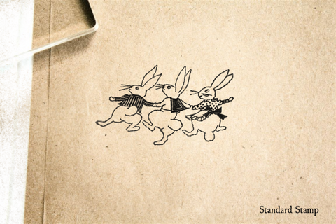 Dancing Bunnies Rubber Stamp
