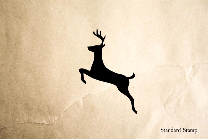Deer Jumping Rubber Stamp