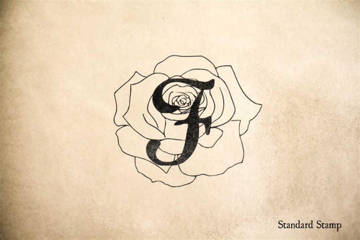 Delicate Rose Monogram Rubber Stamp