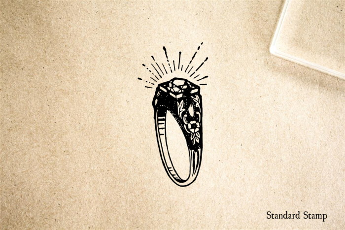 Diamond Ring Rubber Stamp