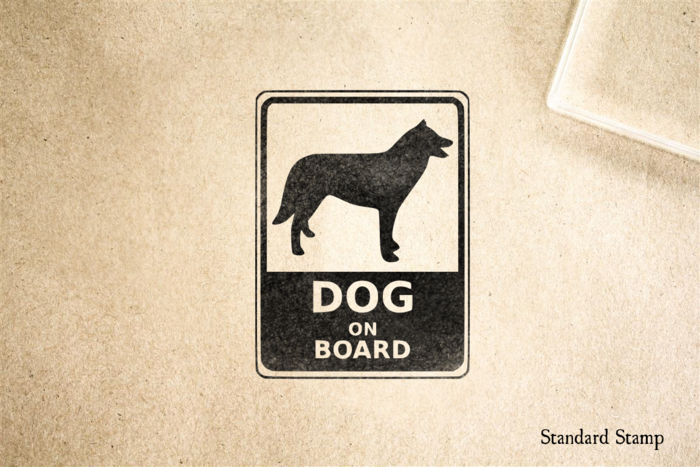Dog on Board Sign Rubber Stamp