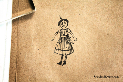 Doll Standing Rubber Stamp
