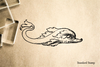 Dolphin Stylized Vintage Cartoon Rubber Stamp