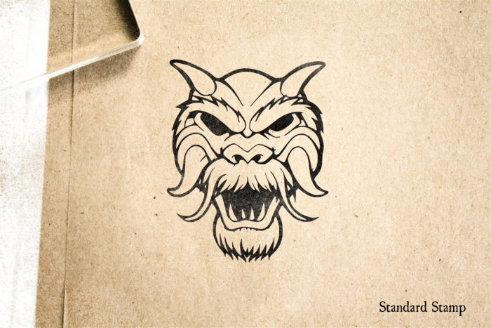Dragon Mask Rubber Stamp