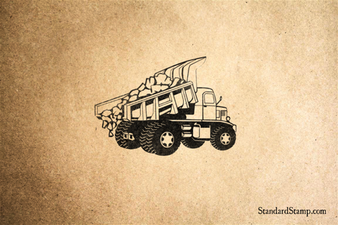 Dump Truck Outline Rubber Stamp