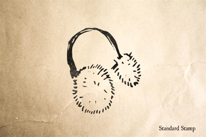 Ear Muffs Rubber Stamp