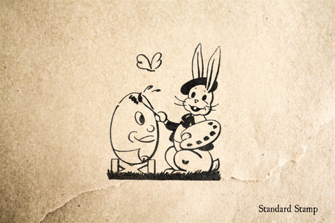 Easter Bunny Painting Eggs Rubber Stamp
