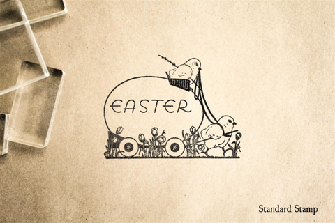 Easter Chick Egg Cart Rubber Stamp