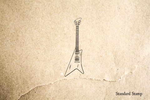 Electric Guitar V Rubber Stamp