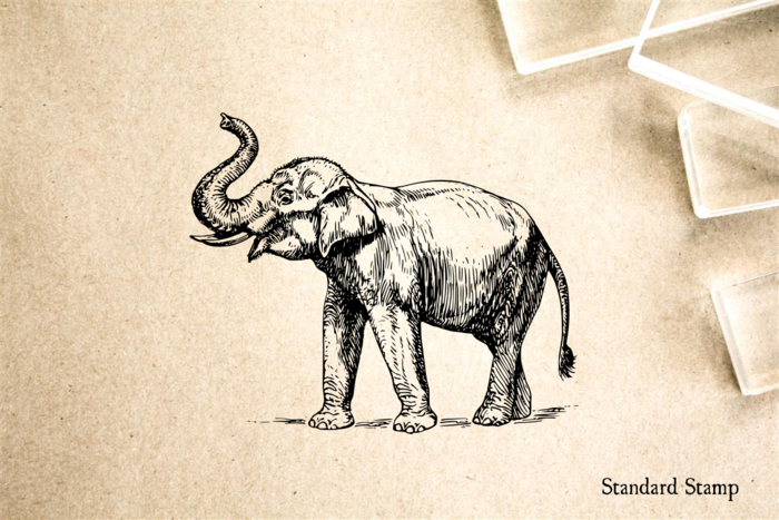 Elephant with Trunk Upraised Rubber Stamp