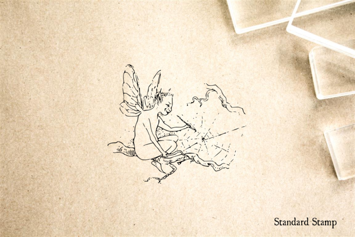 Fairy Painting Cobweb Rubber Stamp