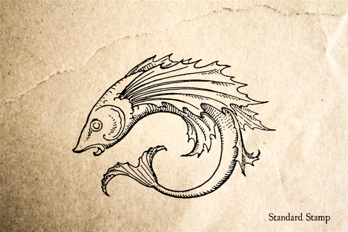 Fancy Fish Rubber Stamp
