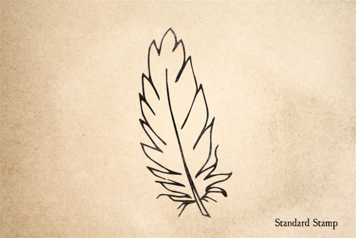 Feather Outline Rubber Stamp