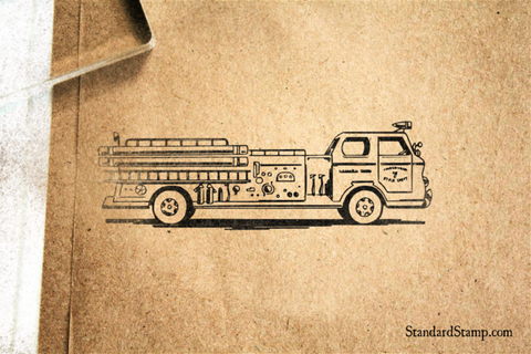 Fire Engine Rubber Stamp