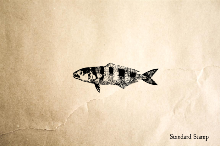 Fish with Broad Stripes Rubber Stamp