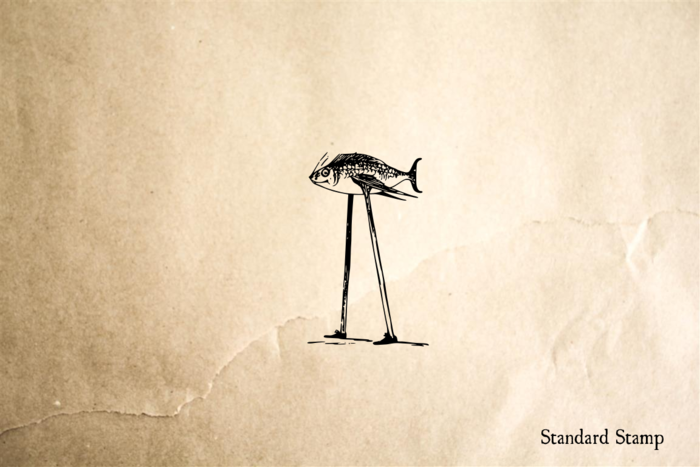Fish on Stilts Rubber Stamp