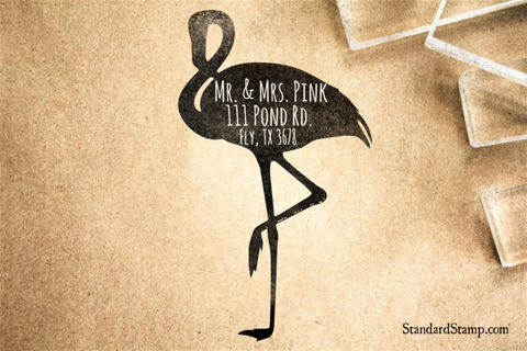 Flamingo Return Address Rubber Stamp
