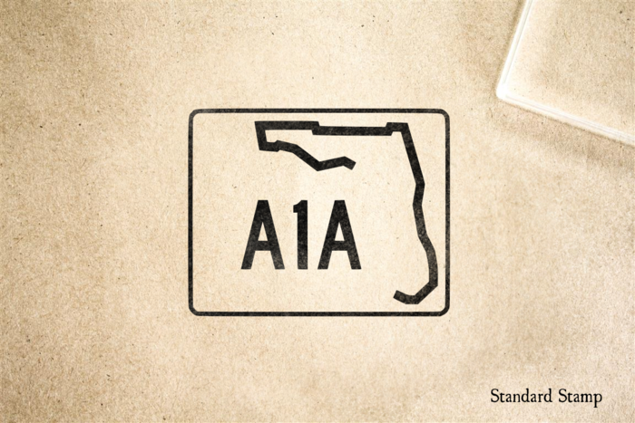 Florida Highway A1A Sign Rubber Stamp
