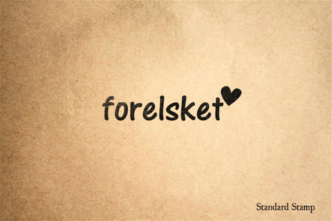 Forelsket Norwegian for Falling in Love Rubber Stamp