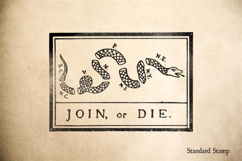 Franklin Join or Die Rubber Stamp