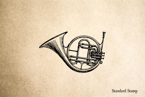 French Horn Rubber Stamp