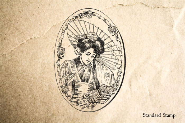 Geisha with Parasol Rubber Stamp