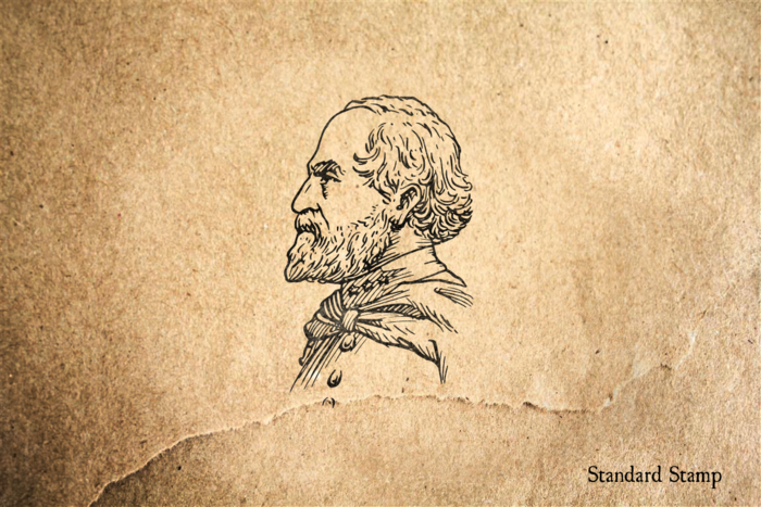 General Robert E Lee Profile Rubber Stamp