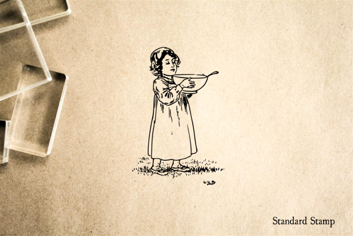Girl with Porridge Rubber Stamp