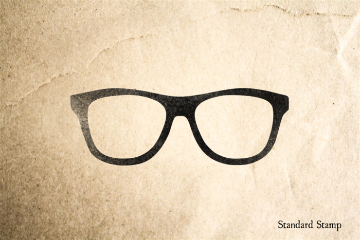 Glasses Rubber Stamp