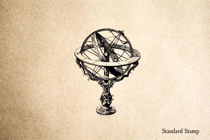 Globe on Stand Rubber Stamp