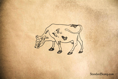 Grazing Cow Rubber Stamp