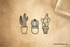 Grouped Cactus Rubber Stamp