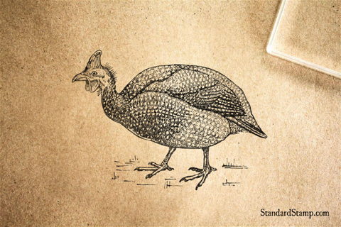 Guinea Fowl Rubber Stamp