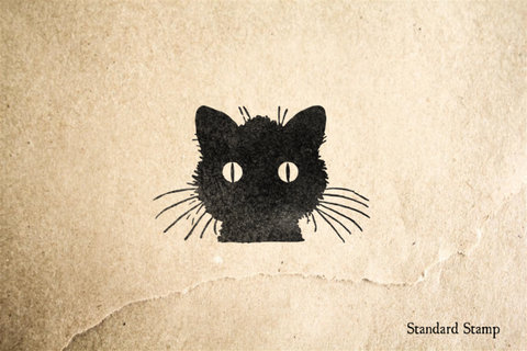 Halloween Staring Cat Rubber Stamp