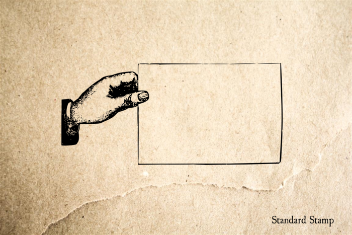 Hand with blank Card Rubber Stamp