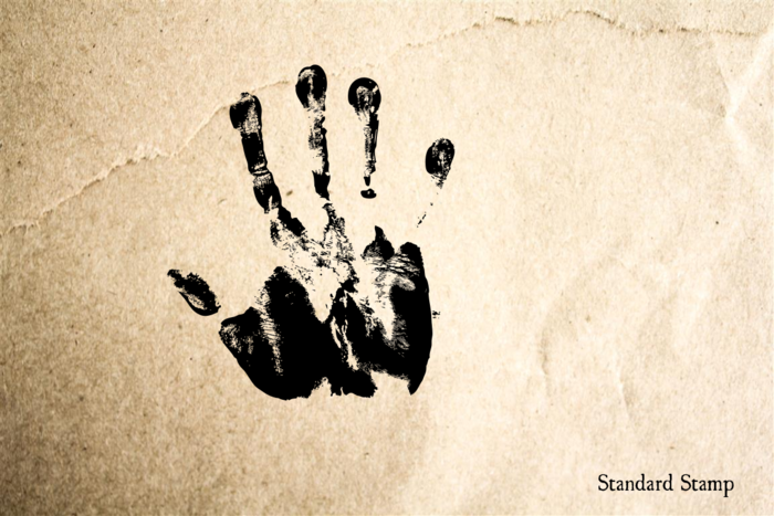Handprint Right Rubber Stamp