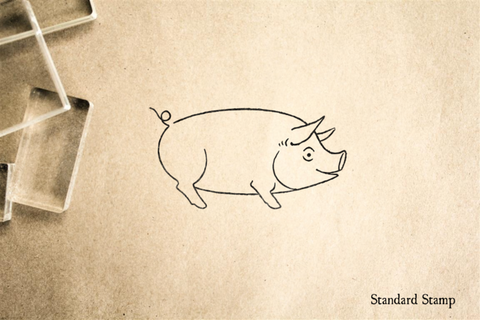 Happy Pig Rubber Stamp